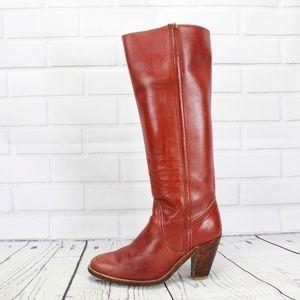Vintage Frye High Heel Tall Reddish Brown Boots 7